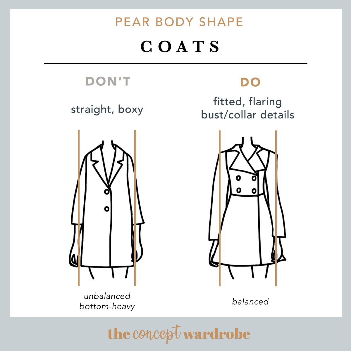Pear Body Shape Coats Do's and Don'ts - the concept wardrobe