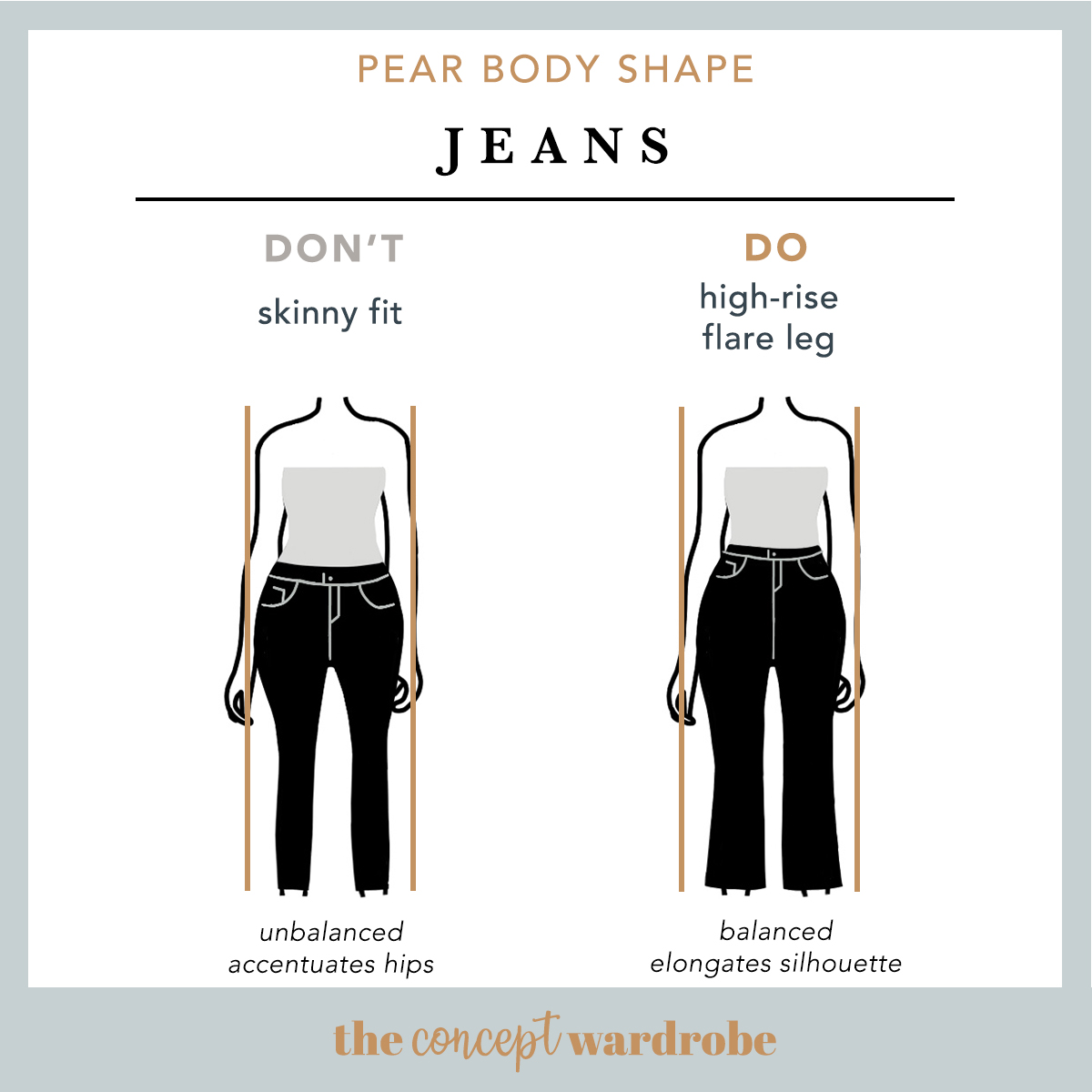 Pear Body Shape Jeans Do's and Don'ts - the concept wardrobe
