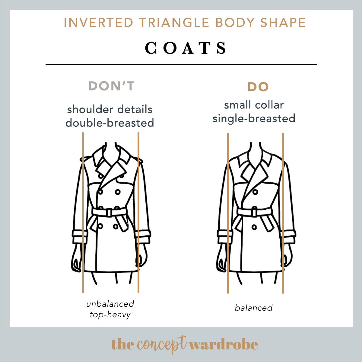 Inverted Triangle Body Shape Coats Do's and Don'ts - the concept wardrobe