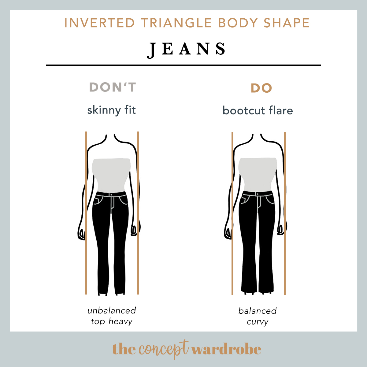 Inverted Triangle Body Shape Jeans Do's and Don'ts - the concept wardrobe