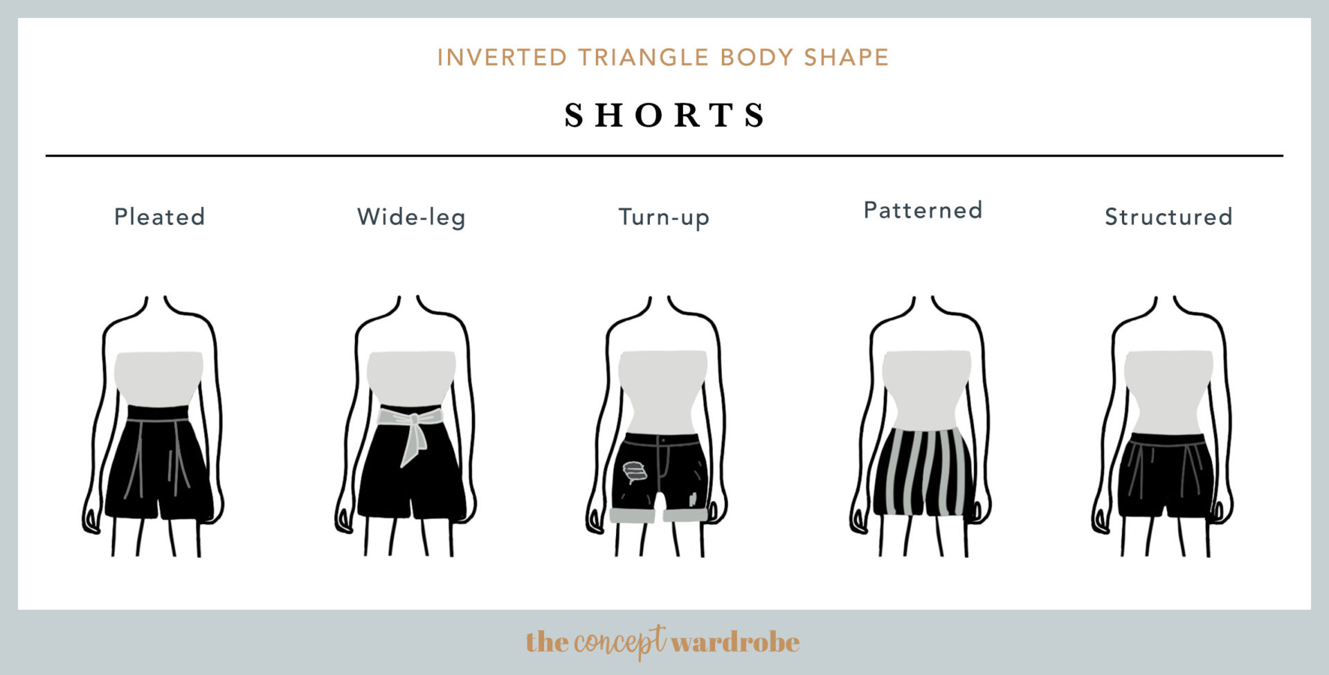 Inverted Triangle Body Shape Shorts - the concept wardrobe