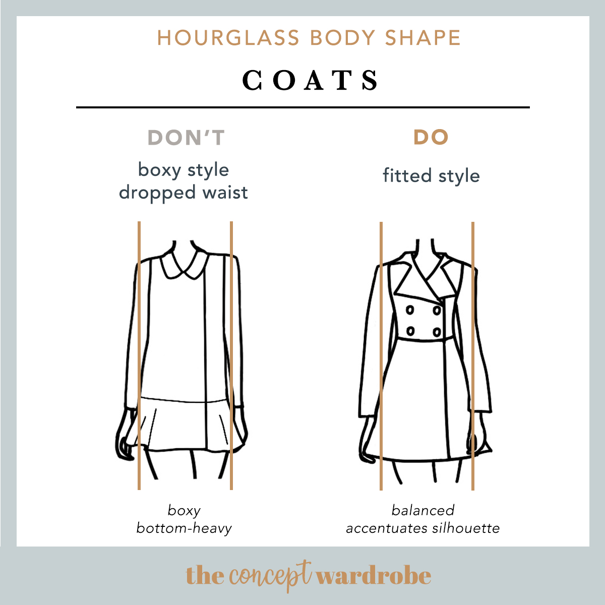 Hourglass Body Shape Coats Do's and Don'ts - the concept wardrobe