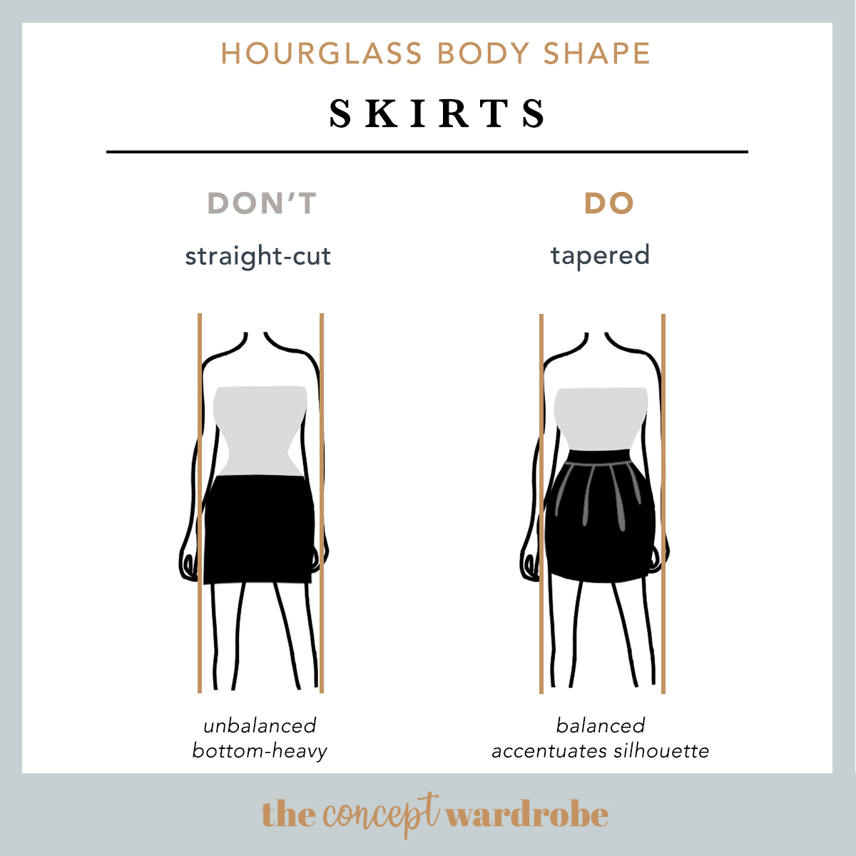 Hourglass Body Shape Skirts Do's and Don'ts - the concept wardrobe
