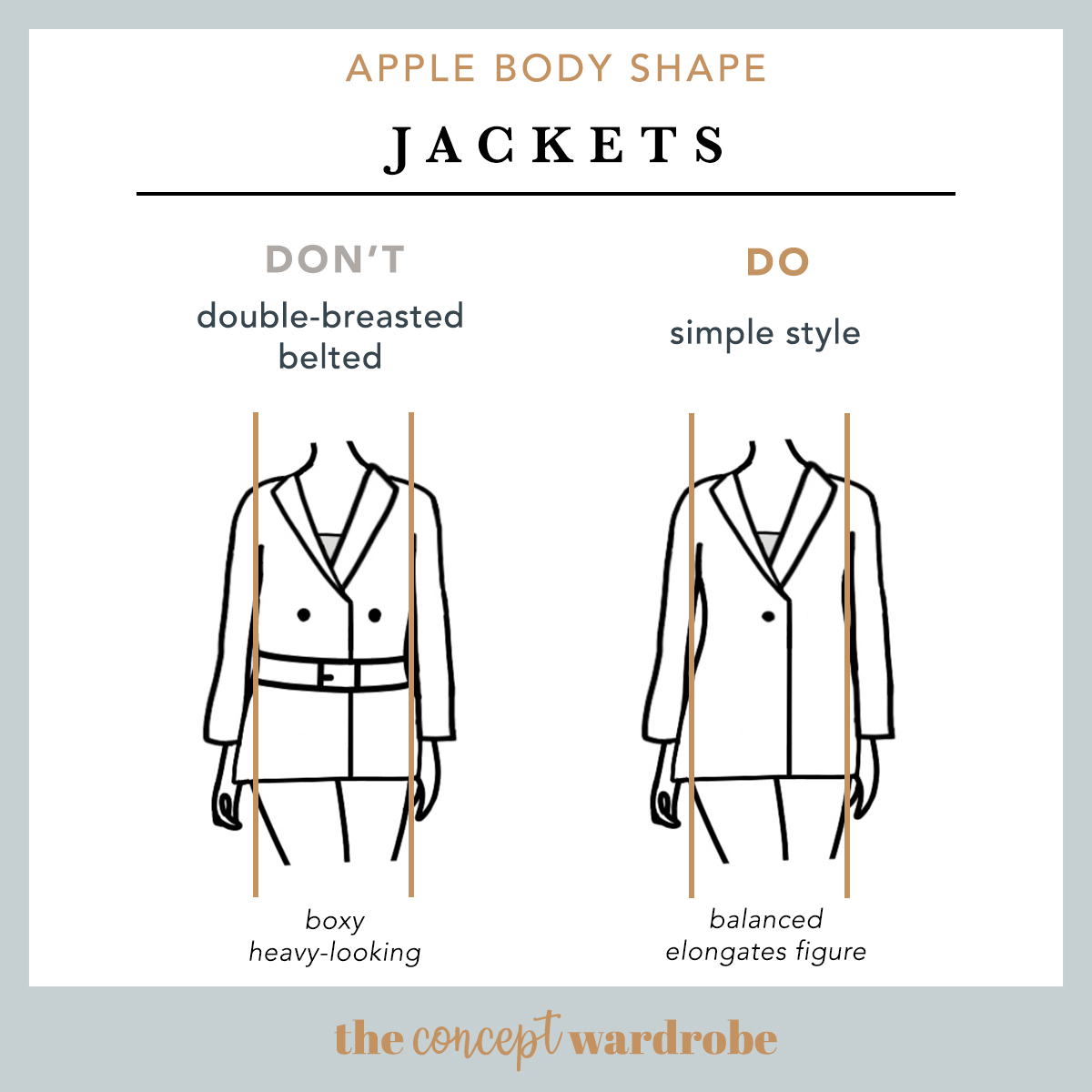 Apple Body Shape Jackets Do's and Don'ts - the concept wardrobe