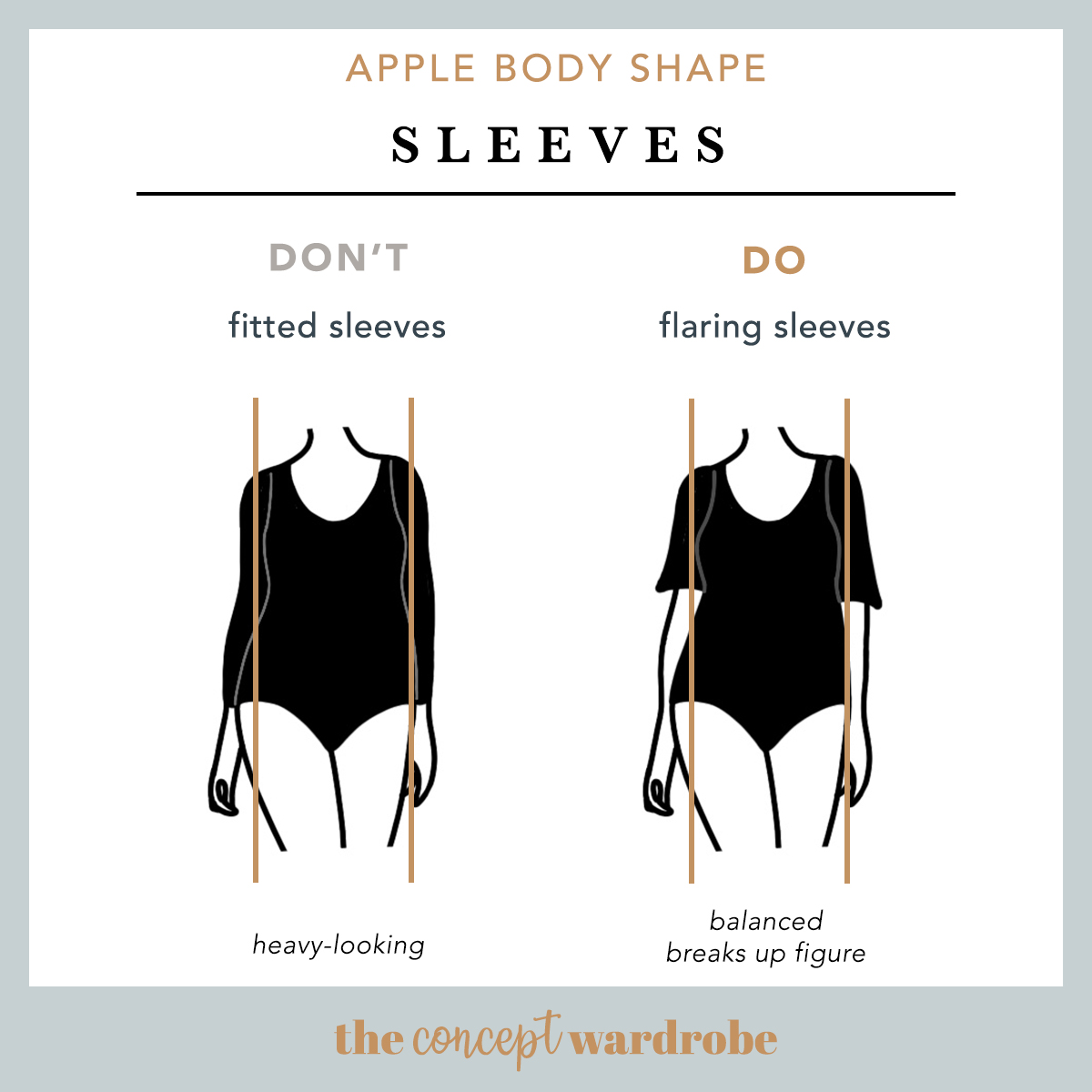 Apple Body Shape Sleeves Do's and Don'ts - the concept wardrobe