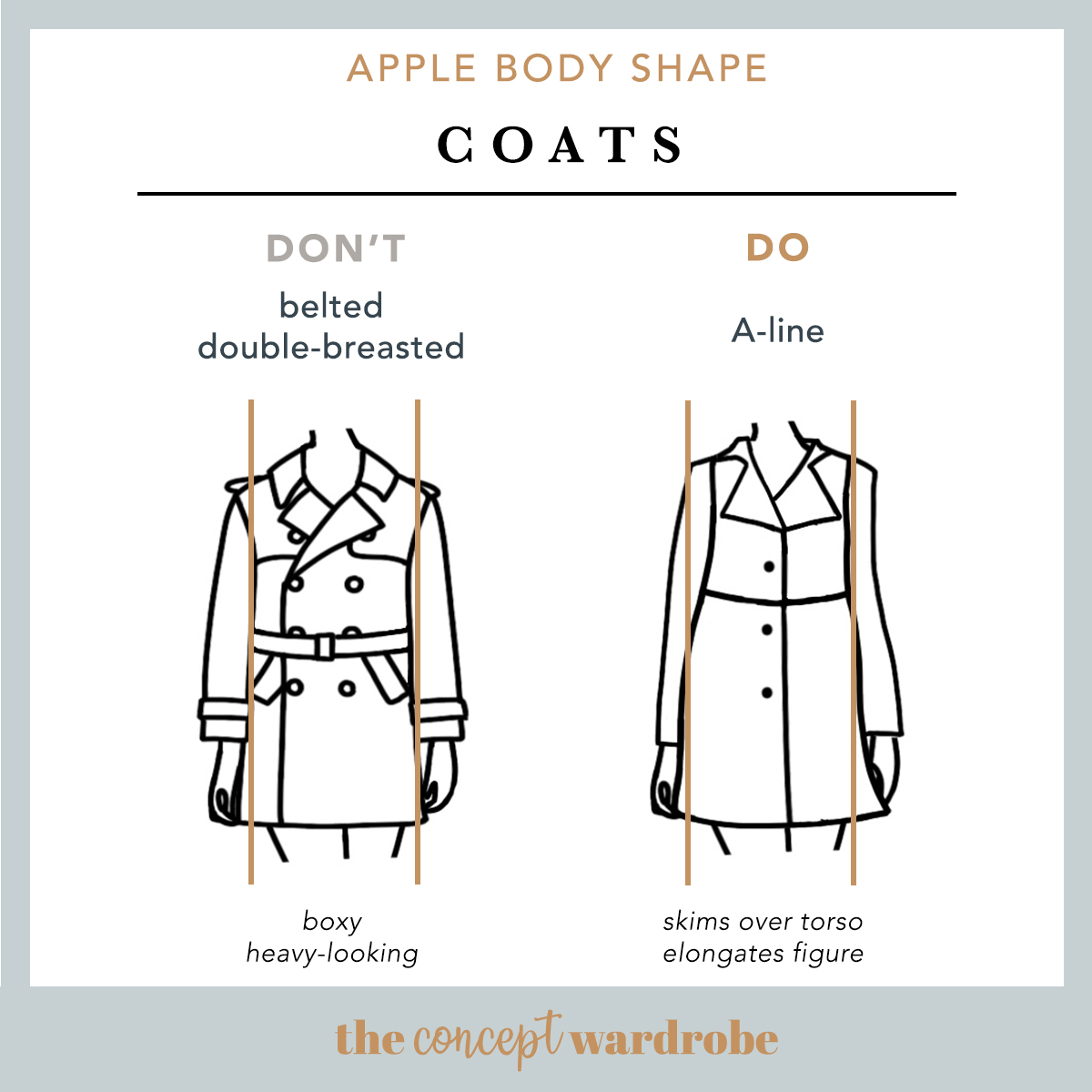 Apple Body Shape Coats Do's and Don'ts - the concept wardrobe