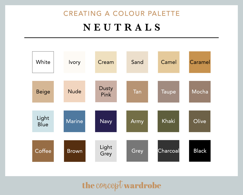 Colour Palette Fashion Neutral Colours - the concept wardrobe