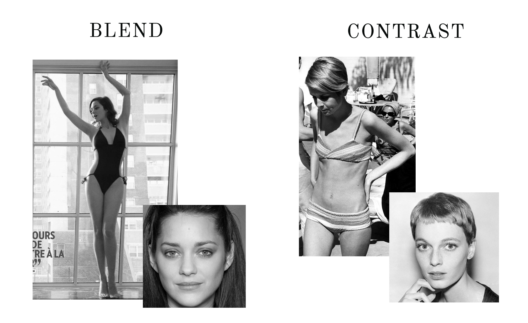 Kibbe Body Types - Blend-Contrast Examples - the concept wardrobe