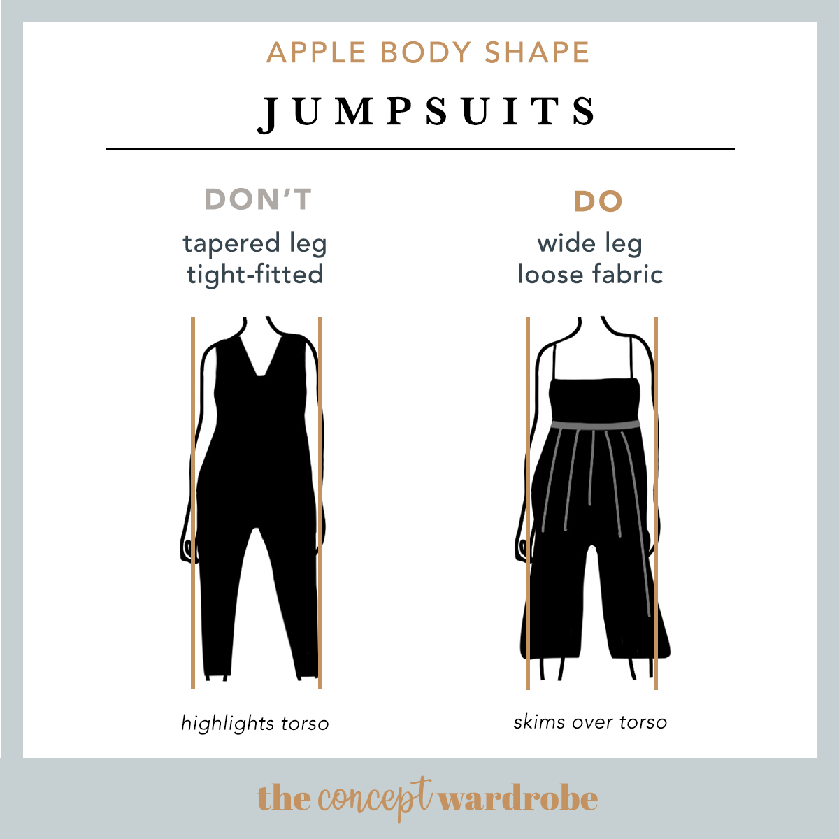 Apple Body Shape - Jumpsuits Do's & Don'ts