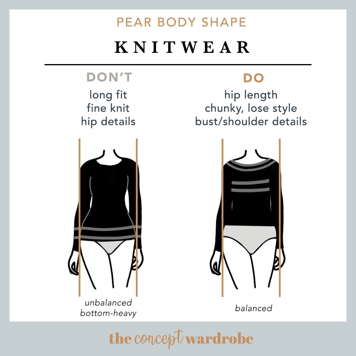 Pear Body Shape Knitwear Do's and Don'ts - the concept wardrobe