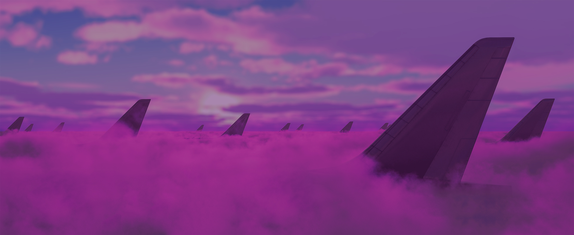 Background image of pink clouds against a pink and blue sky. The lower half is filled with clouds with the tails of numerous airplanes poking through.