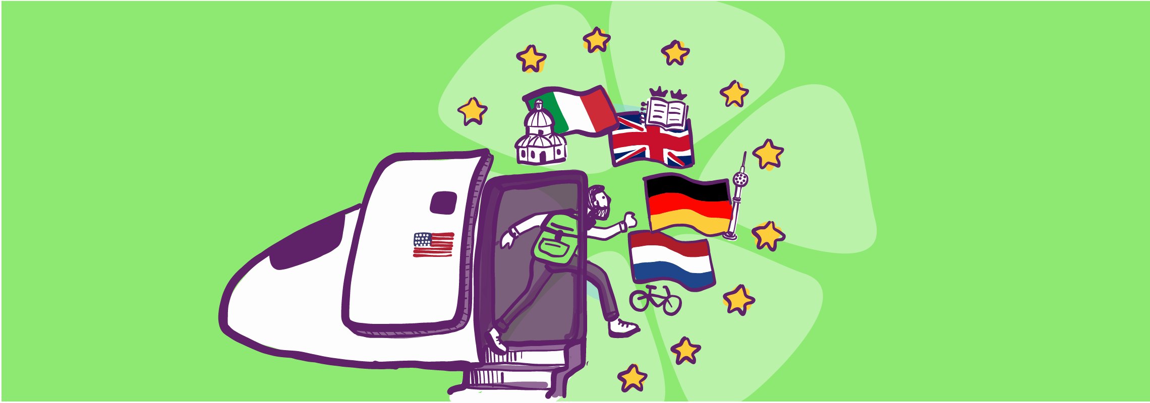 Drawing of backpacker entering a plane with a number of destinations being display by the flags of Italy, UK, Germany, and Netherlands.