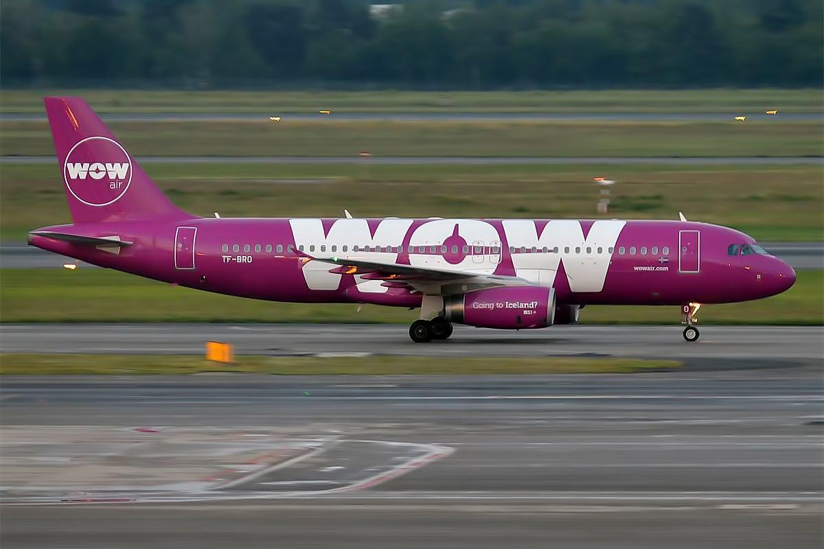 WOW air plane on tarmac