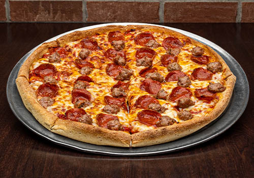 two topping pizza with sausage and peperroni