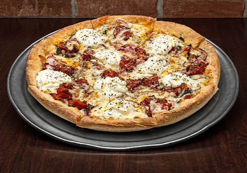 craft pizza with ricotta cheese, fire roasted tomato, and more