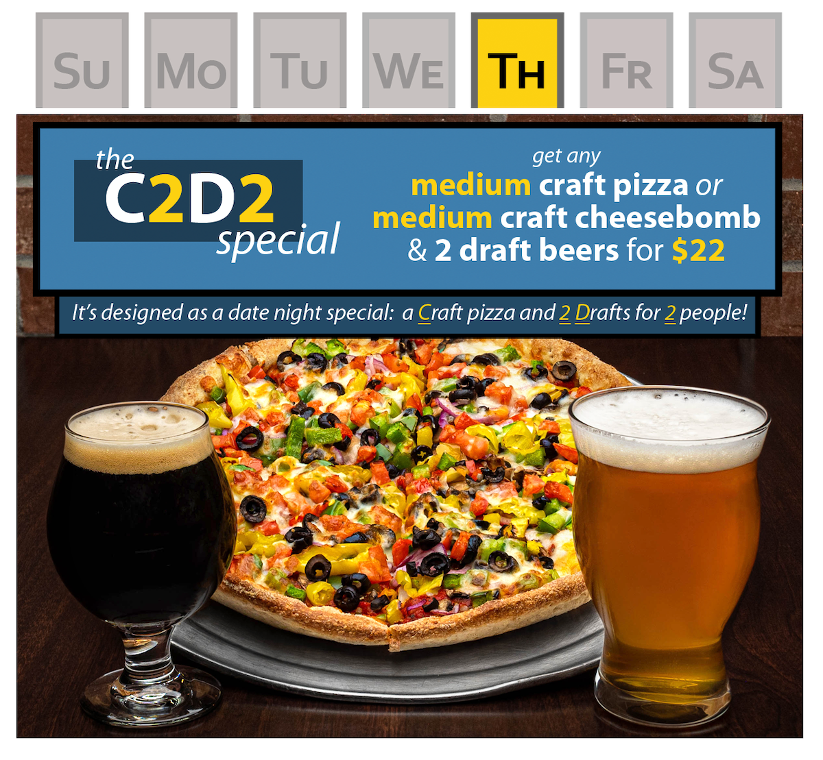 speical containing a medium craft pizza and two draft beers