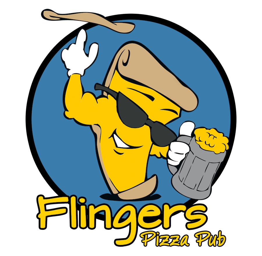 The Flingers Logo which is a yellow slice of pizza as a cartoon character who is tossing a pizza in the air with one hand and holding a mug of beer in the other