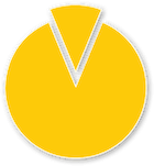 yellow pizza shaped icon with a slice being pulled out