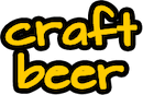 slogan text that reads Craft Beer in yellow lowercase letters with a black outline