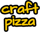 slogan text that reads Craft Pizza in yellow lowercase letters with a black outline