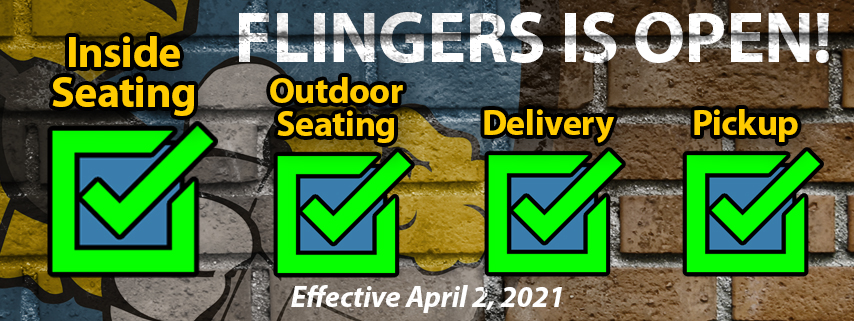 4 green checkboxes to indicate that Flingers is open for indoor dining, delivery, curbside pickup and the beer garden.