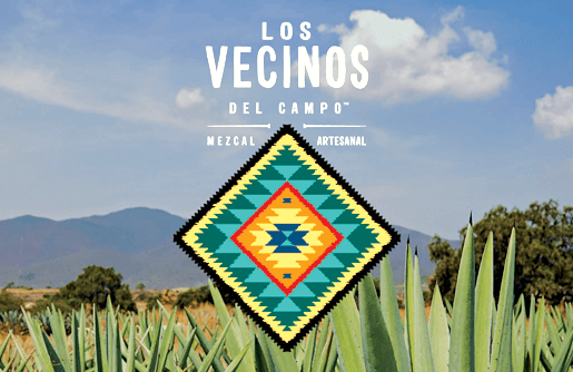Logo for Mezcal  made by Los Vecinos del Campo  in front of mountains and the desert
