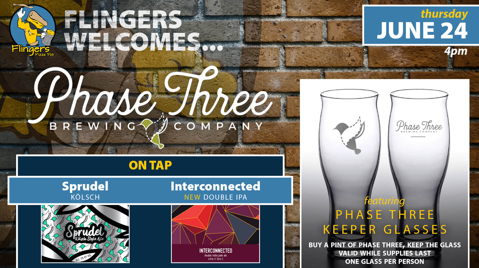 Two 16 ounce pint sized beer glasses with the Phase Three logo and icons representing their Sprudel Kolsch beer and Interconnected Double Hazy IPA