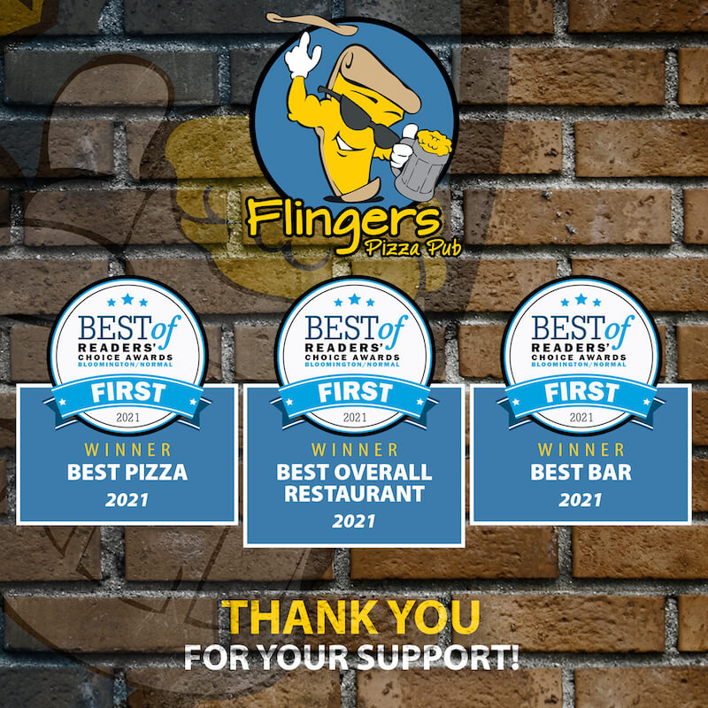 Pantagraph Award Icons in white with blue ribbons indicating a first place award for Best Bar, Best Pizza and Best Restaurant in Bloomington, Illinois in 2021