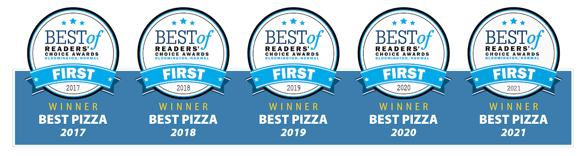Pantagraph Award Icons in white with blue ribbons indicating a first place award for Best Pizza in Bloomington, Illinois for several years in a row including 2021