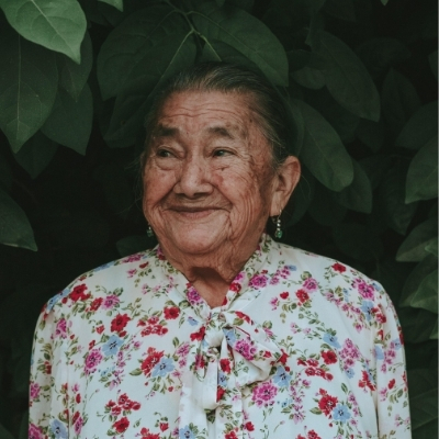 A smiling elderly lady