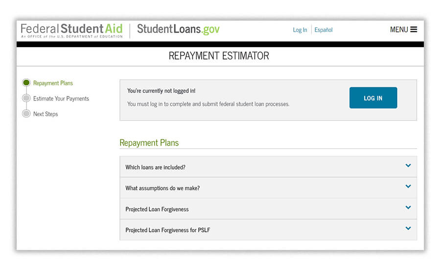 Screenshot of student loans.gov repayment estimator