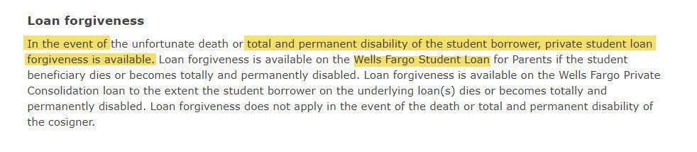 wells fargo private student loan forgiveness program