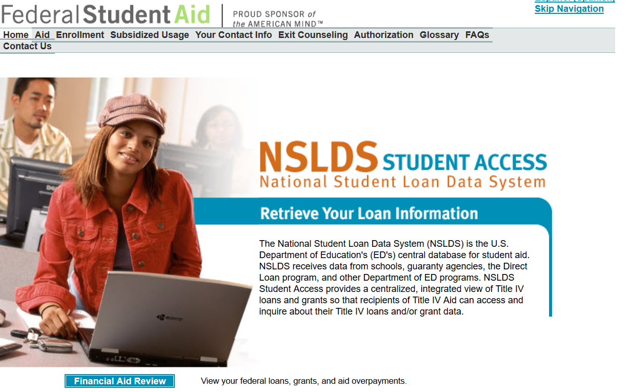 National Student Loan Data System [NSLDS] homepage