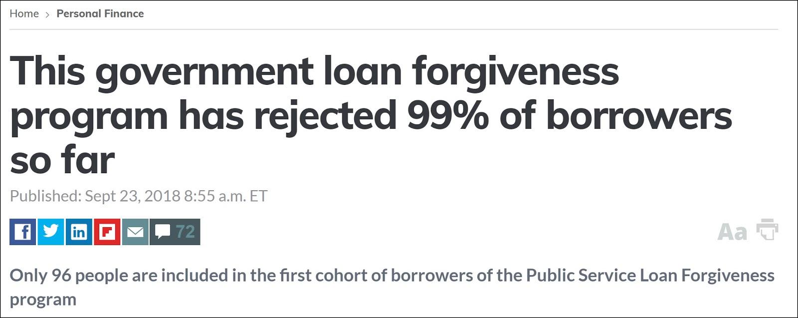 ninety nine percent denied loan forgiveness