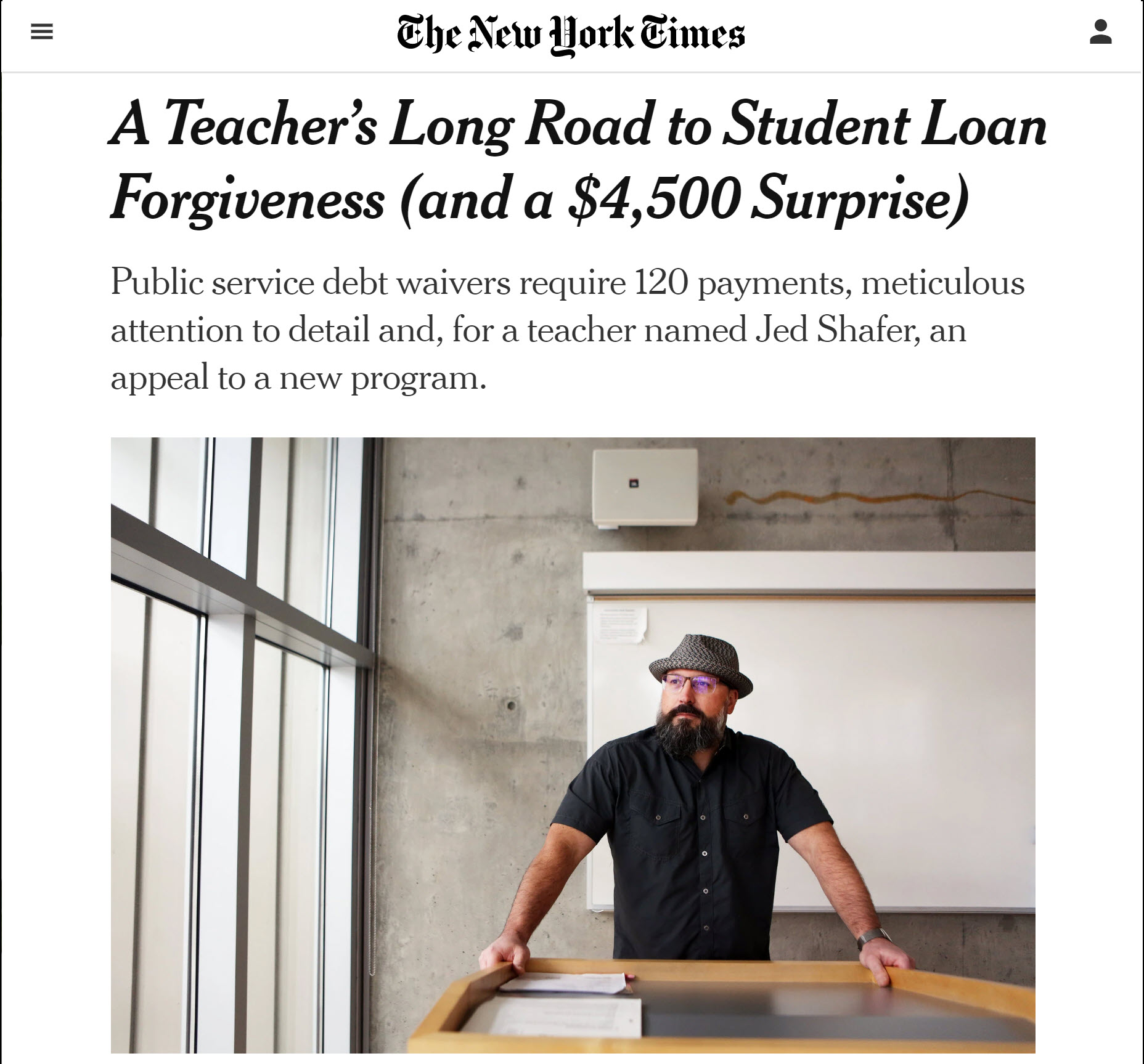 Male teacher who got Public Service Loan Forgiveness