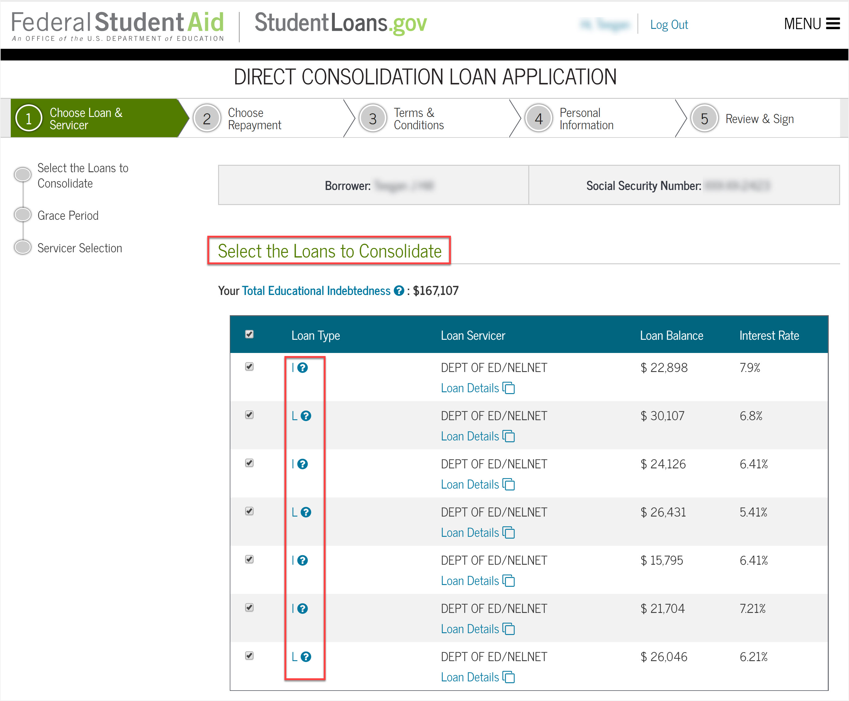 Screenshot of screen which lets you choose which loans to consolidate