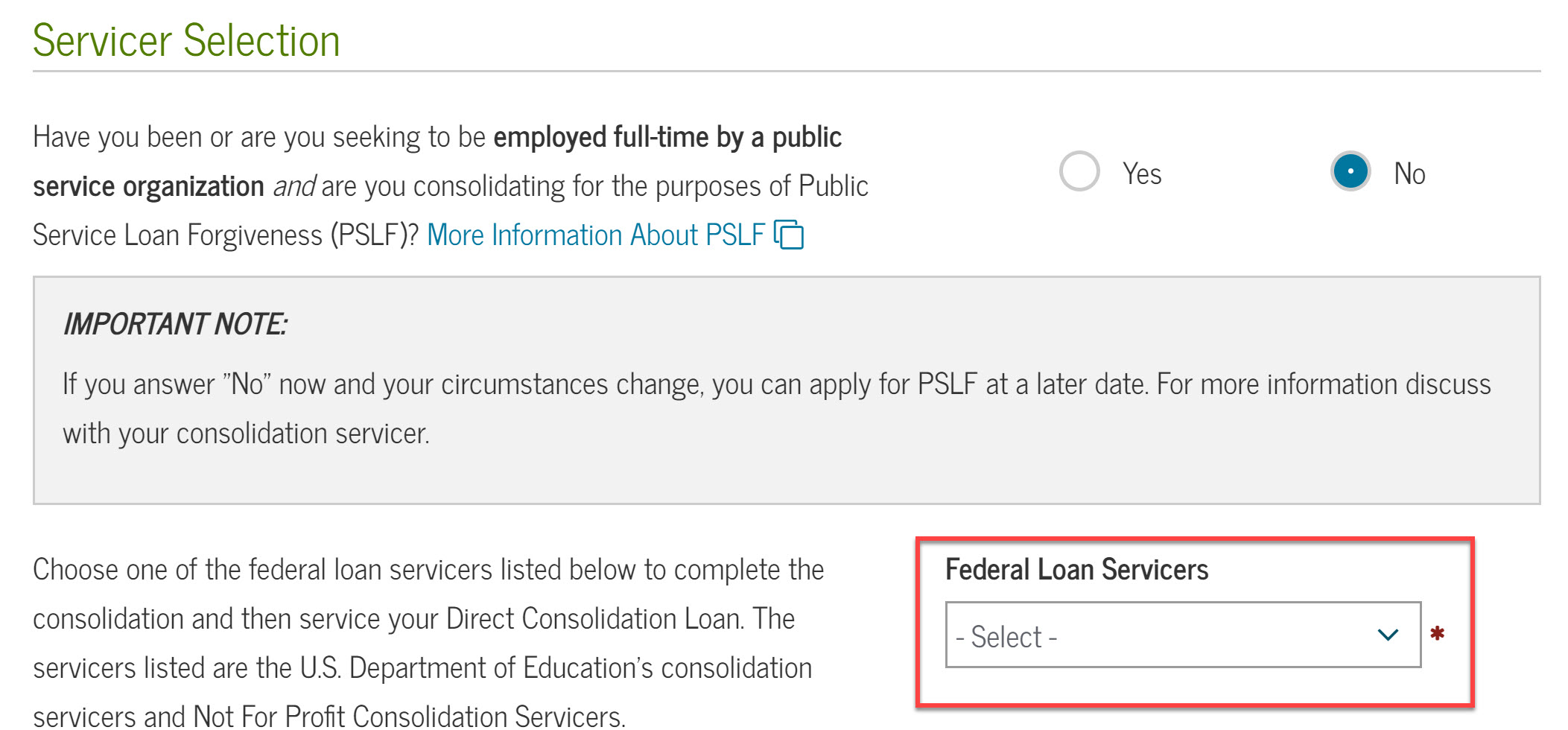Screenshot how to choose new loan servicer