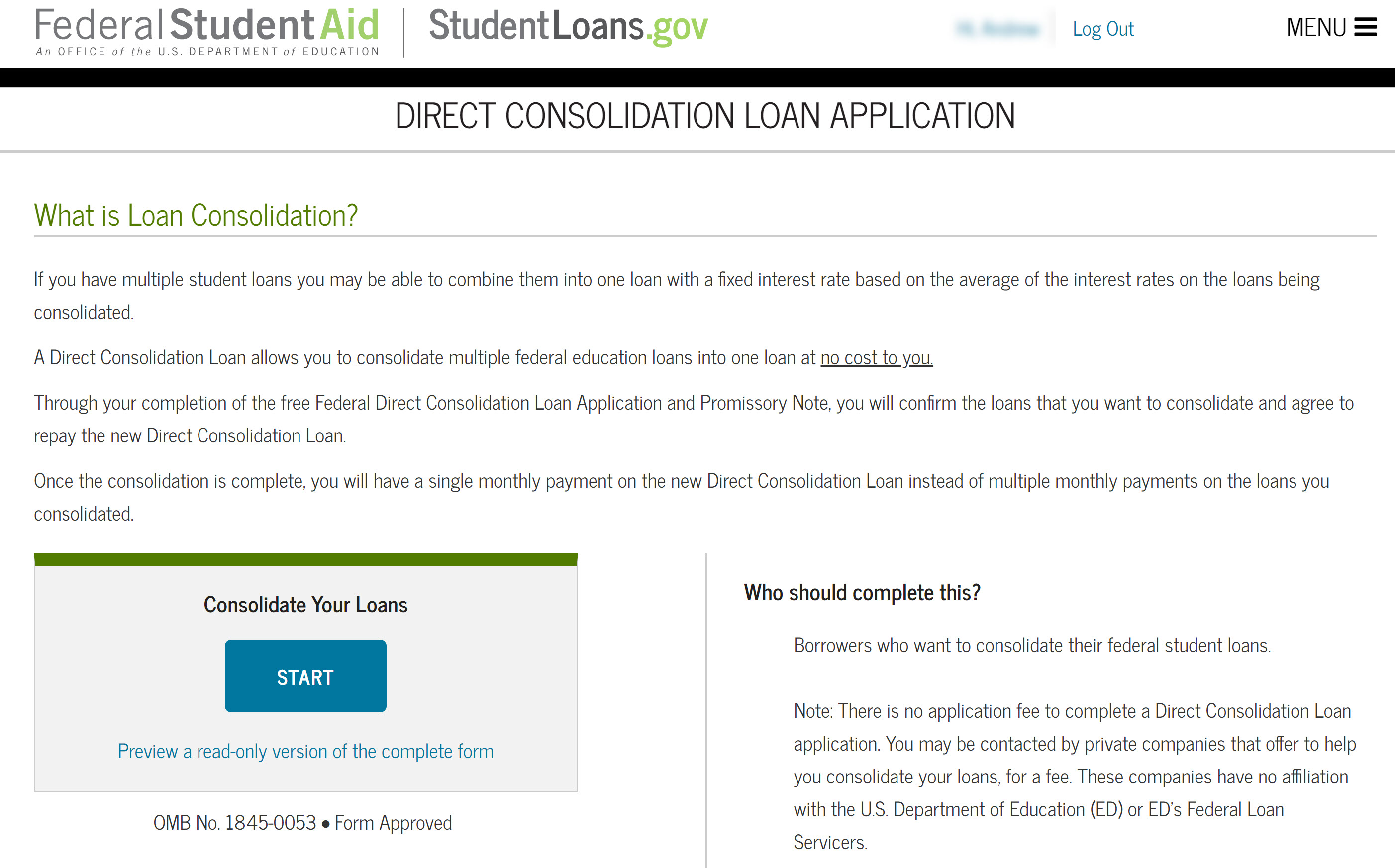 Start screen student loan consolidation