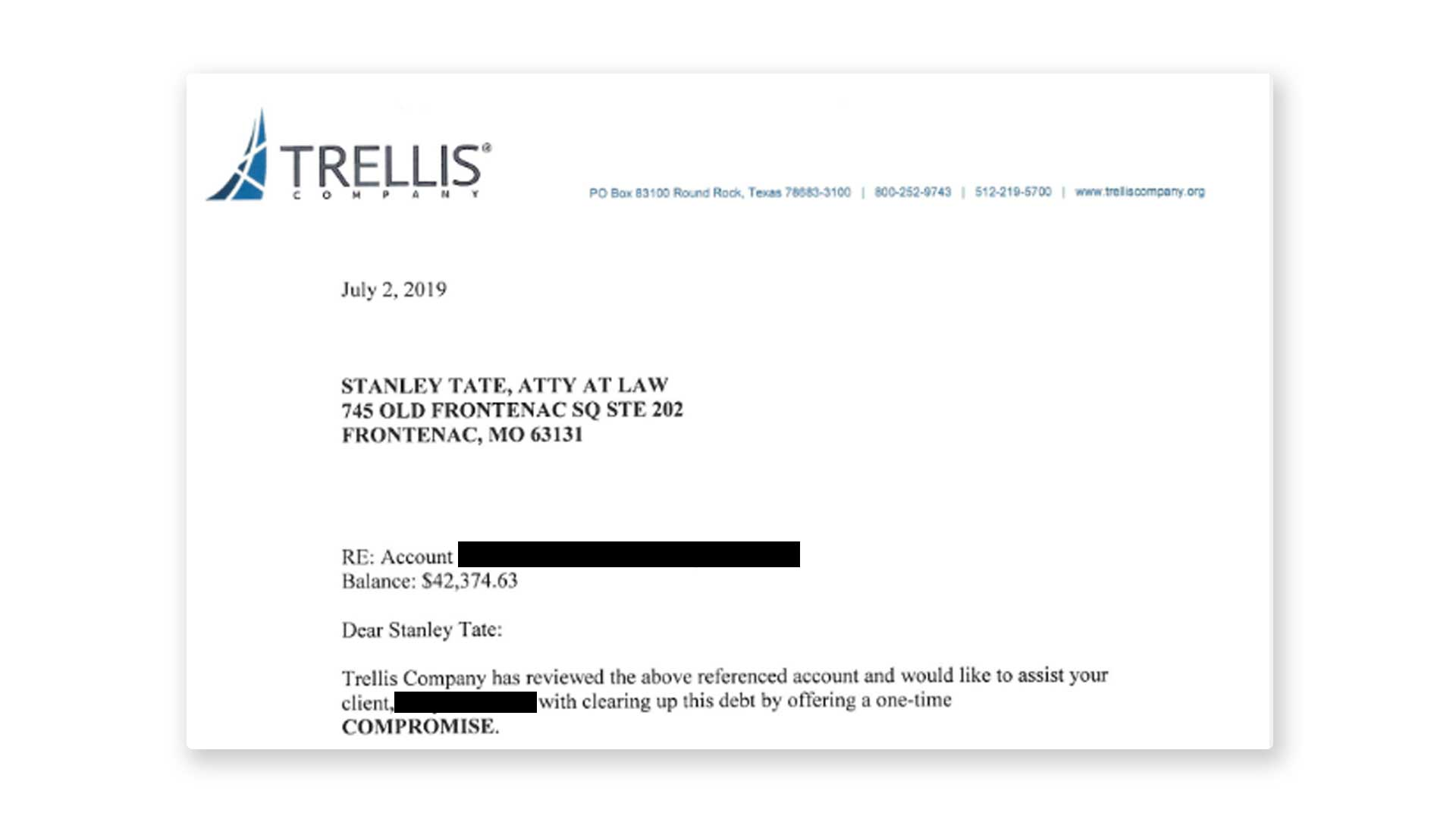Federal student loan settlement letter.
