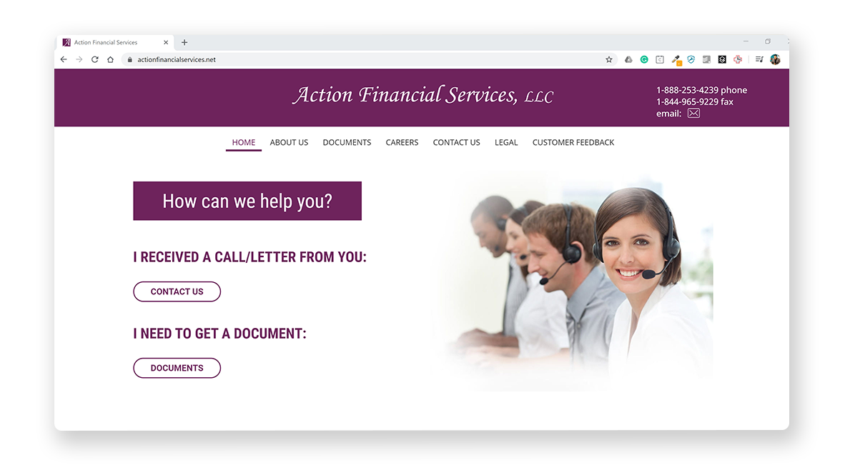 Screenshot of Action Financial Services Homepage