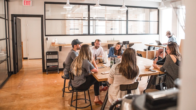 Employees working at a startup