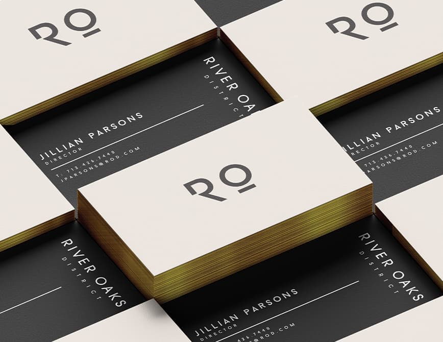 River Oaks District business card logo and branding.