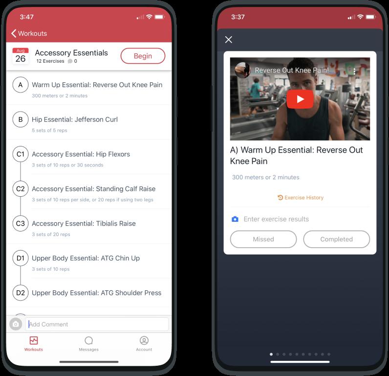 Screenshot from TrueCoach App exercises screen