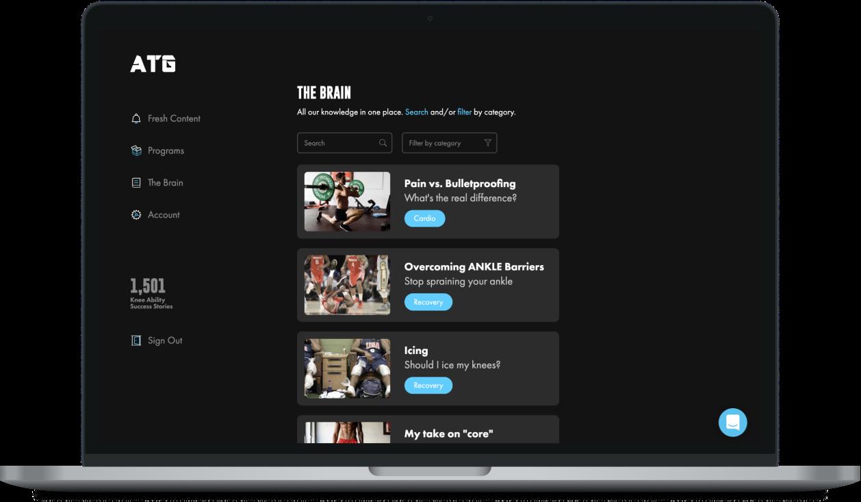 Screenshot of member's content area
