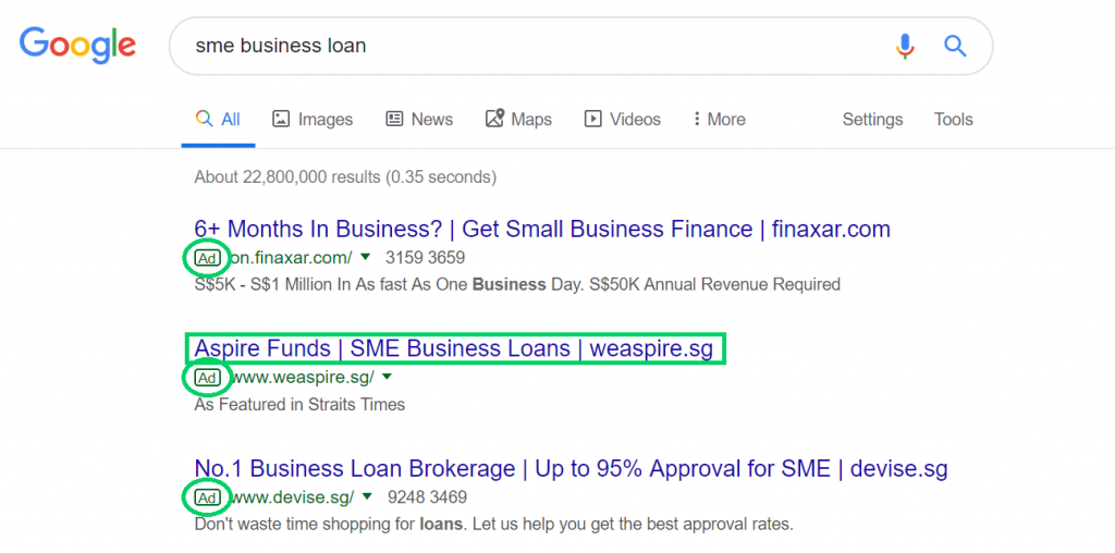 aspire funds sme business loans weaspire.sg paid ad google search results