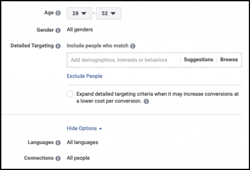 Narrow the demographics of your target for your Facebook Ads