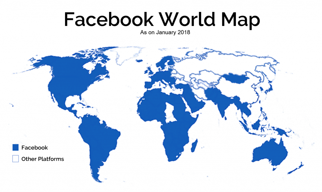 Facebook users compared to other platforms world map.