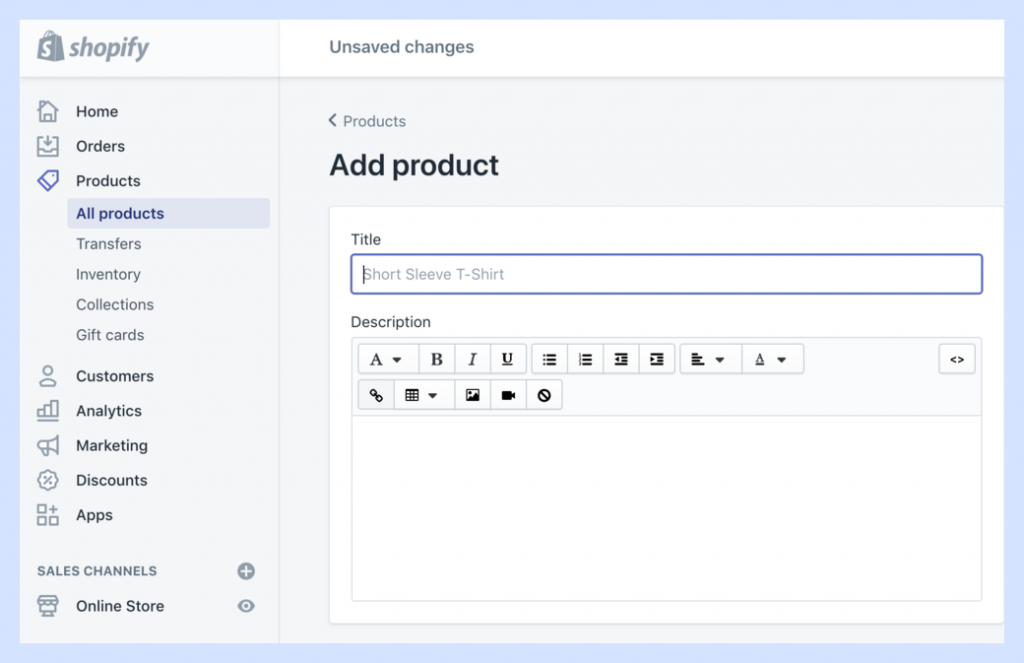 Step 1 to Set Up Your Shopify Store: Add products