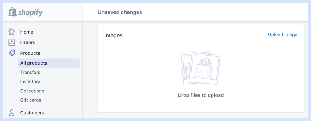 Step 2 to start selling in Shopify: Upload images