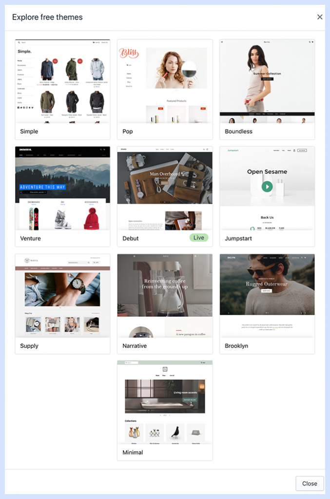 E-commerce platform with free themes